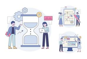 Experts who set up hourglasses and plan and analyze. Outline flat design style minimal vector illustration set.