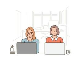Two women are sitting side by side in a cafe, looking at each other uncomfortably, using a laptop. hand drawn style vector design illustrations.