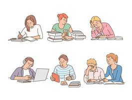 Students are studying in their own style stacked up. hand drawn style vector design illustrations.