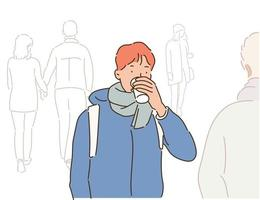A man in winter clothes is drinking coffee and walking down the street. hand drawn style vector design illustrations.