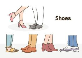 People wearing various shoes. hand drawn style vector design illustrations.