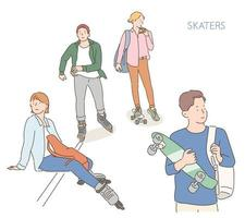 People moving on skateboards and inline. hand drawn style vector design illustrations.