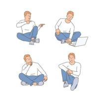 A man is sitting on the floor and doing various expressions and poses. hand drawn style vector design illustrations.