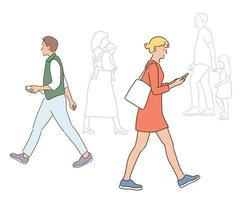 people walking down the street. hand drawn style vector design illustrations.