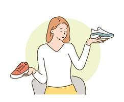 A woman is contemplating with her shoes in both hands. hand drawn style vector design illustrations.