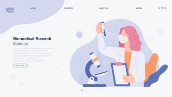 A scientist is doing research in a laboratory. He is watching with a microscope on the table, holding a chart in his hand and a test tube in the other. Online web page concept template. vector