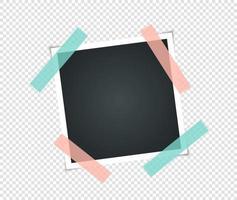 Marco de fotos vintage vacío con cinta adhesiva. maquetas de fotos realistas. plantilla retro para tus fotos. ilustración - vector