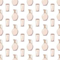 Seamless pattern with a jug and a glass with milk. Print with kefir or other liquid. Farm products rich in vitamins and calcium in the background vector