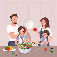 Happy family prepares food. Children help their parents. The girl makes vegetable salad. Dinner at home with mom, dad, brother and sister. Healthy lifestyle, proper nutrition vector
