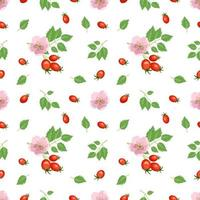 Bright seamless pattern with rose hips, red berries, leaves and flowers. Summer cute print for wrapping paper, textile and design vector