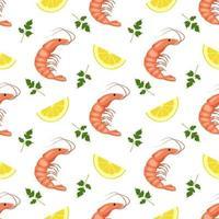 patrón sin fisuras con camarones o gambas, rodajas de limón y hojas de perejil. impresión de alimentos para textiles, papel y otros diseños. una fuente de vitaminas y nutrición saludable vector