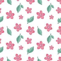 Cute stylish seamless pattern with sakura flowers and twigs. Spring print is suitable for textiles, wrapping paper, designs vector