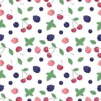 Seamless pattern with berries and mint leaves. A cute summer or spring print with cherries, blueberries and raspberries. Festive decoration for textiles, wrapping paper and design. vector