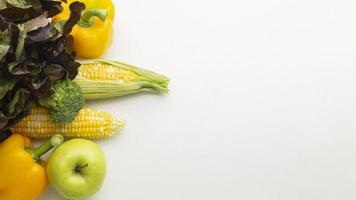 Vegetables and fruits assortment high angle photo