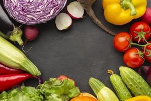 Top view vegetables with copy space photo