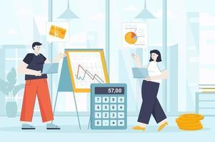 concepto de gestión financiera en la ilustración de vector de diseño plano