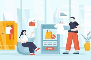 Online shopping concept in flat design vector illustration