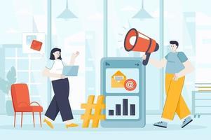 Social media marketing concept in flat design vector illustration