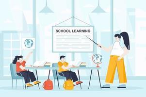 School learning concept in flat design vector illustration
