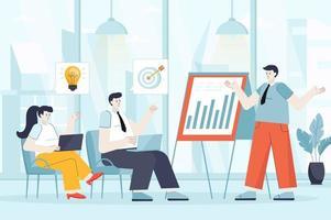Business training concept in flat design vector illustration