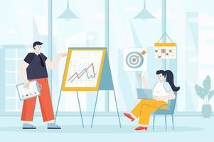 Business planning concept in flat design vector illustration