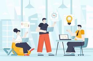Developers team concept in flat design vector illustration