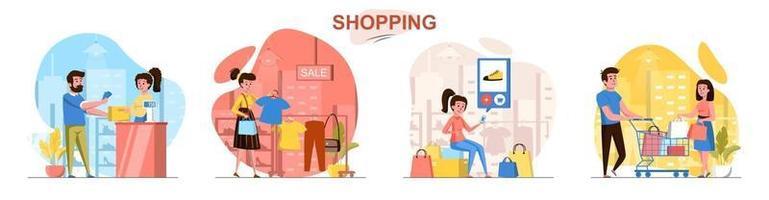 Shopping flat design concept scenes set vector