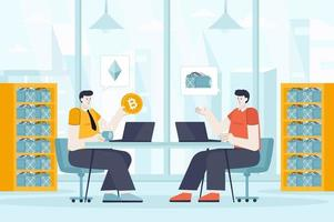 Cryptocurrency concept in flat design vector illustration