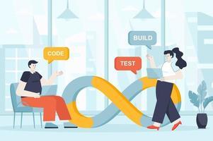 DevOps concept in flat design vector illustration