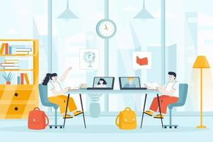 Distant learning concept in flat design vector illustration
