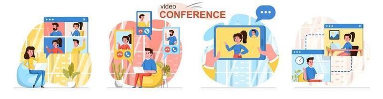 Video conference flat design concept scenes set vector