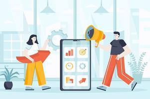 Mobile marketing concept in flat design vector illustration