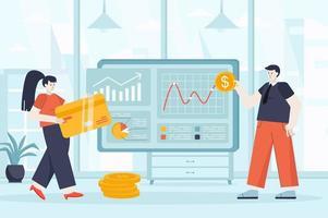 Virtual finance concept in flat design vector illustration