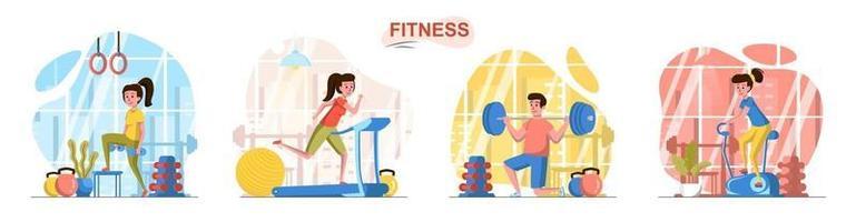 Fitness sport club flat design concept scenes set vector