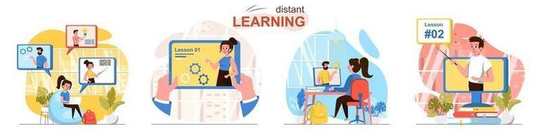 Distant learning flat design concept scenes set vector
