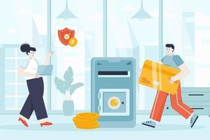 Online banking concept in flat design vector illustration