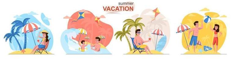 Summer vacation flat design concept scenes set vector