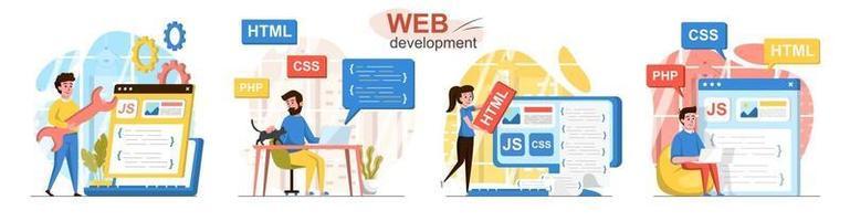 Web development flat design concept scenes set vector