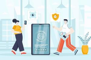 Biometric access control concept in flat design vector illustration