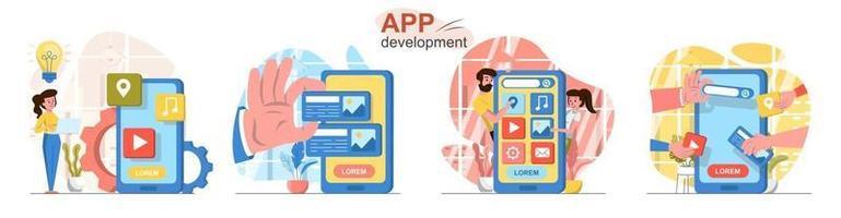 App development flat design concept scenes set vector
