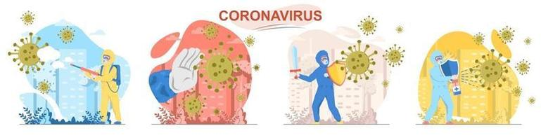 Coronavirus flat design concept scenes set vector