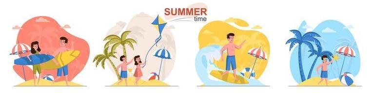 Summer time flat design concept scenes set vector
