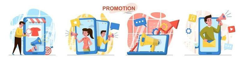 Promotion flat design concept scenes set vector