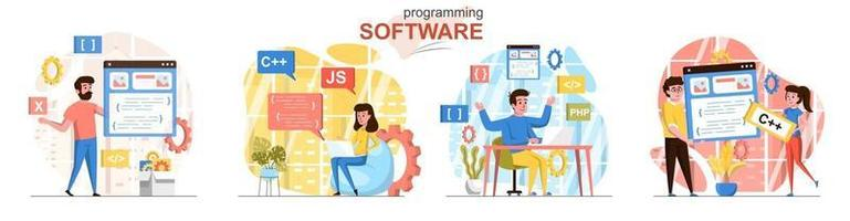 Programming flat design concept scenes set vector