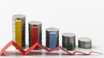 concepto de estadísticas con pilas de monedas foto