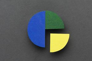 Stats concept with pie chart flat lay photo