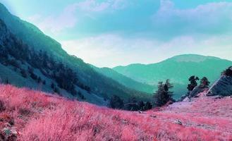 Colorful retro vaporwave landscape photo