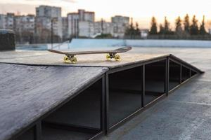 Skateboard rink view in playground with Skateboard photo