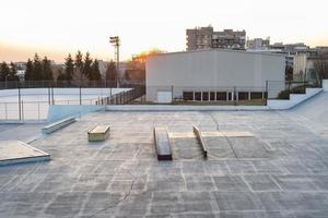 Skateboard rink view in playground photo