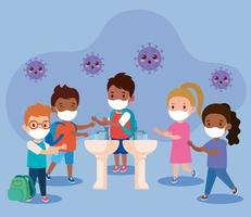 prevent covid 19, wearing medical mask, wash your hands, group children wearing protective mask, health care concept vector